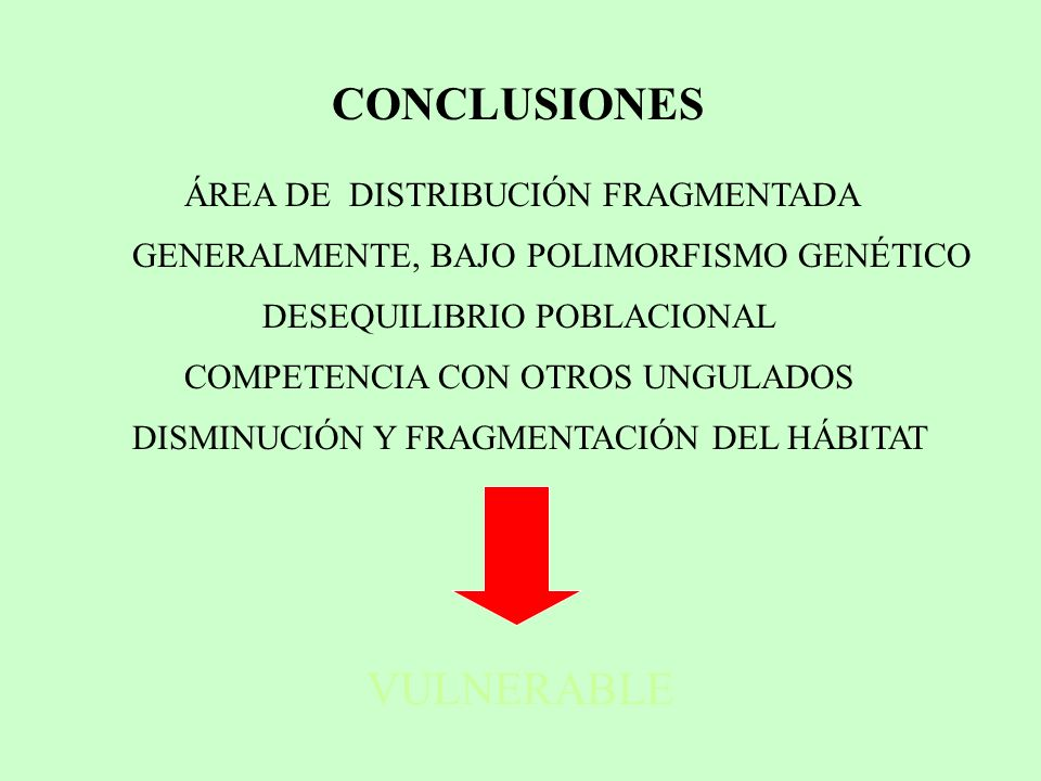 CONCLUSIONES VULNERABLE ÁREA DE DISTRIBUCIÓN FRAGMENTADA