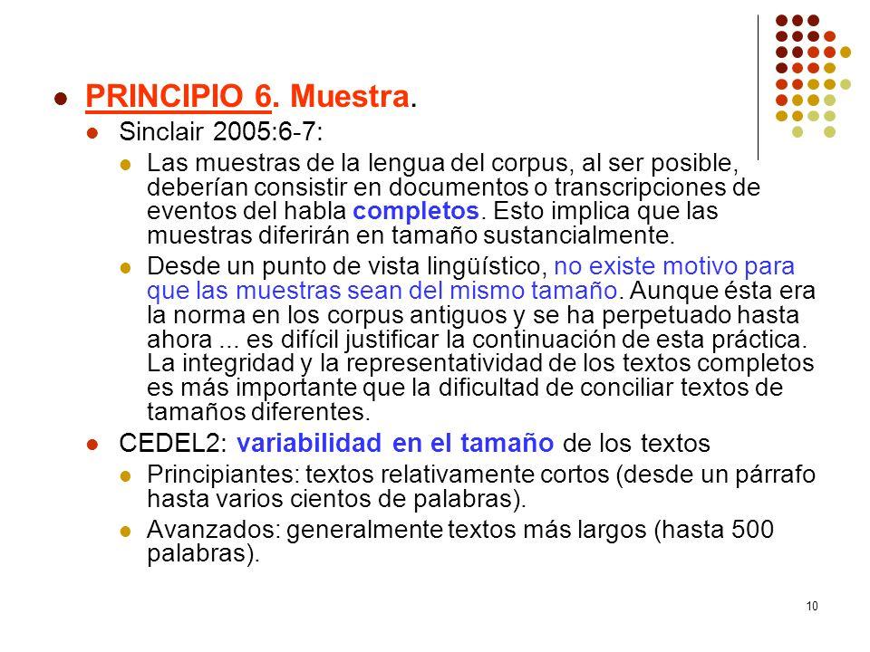 PRINCIPIO 6. Muestra. Sinclair 2005:6-7:
