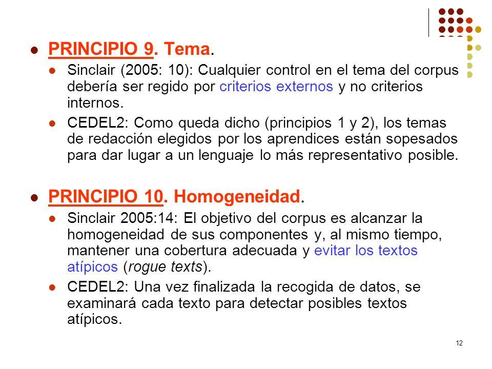 PRINCIPIO 10. Homogeneidad.