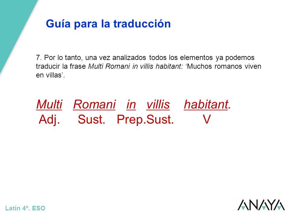 Multi Romani in villis habitant. Adj. Sust. Prep.Sust. V