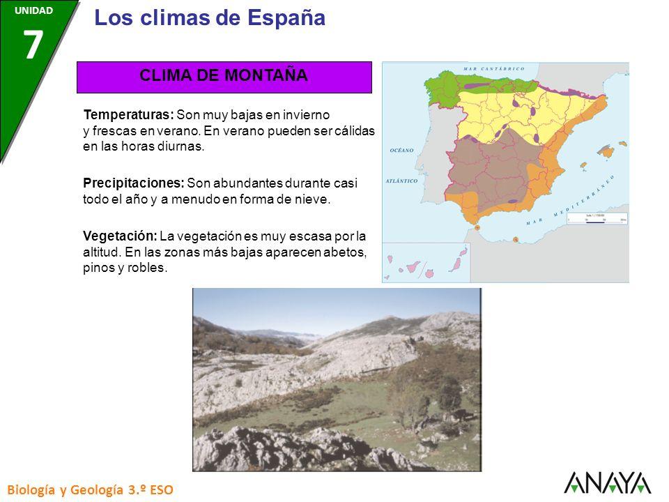 Los climas de España CLIMA DE MONTAÑA Biología y Geología 3.º ESO