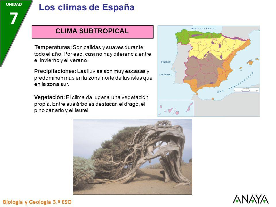Los climas de España CLIMA SUBTROPICAL Biología y Geología 3.º ESO