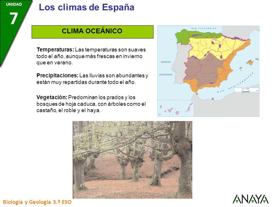 Los climas de España CLIMA OCEÁNICO Biología y Geología 3.º ESO