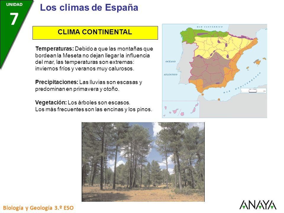 Los climas de España CLIMA CONTINENTAL Biología y Geología 3.º ESO