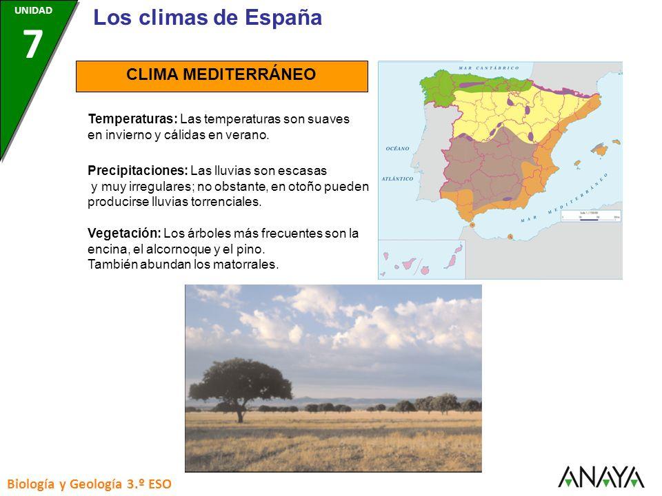 Los climas de España CLIMA MEDITERRÁNEO Biología y Geología 3.º ESO
