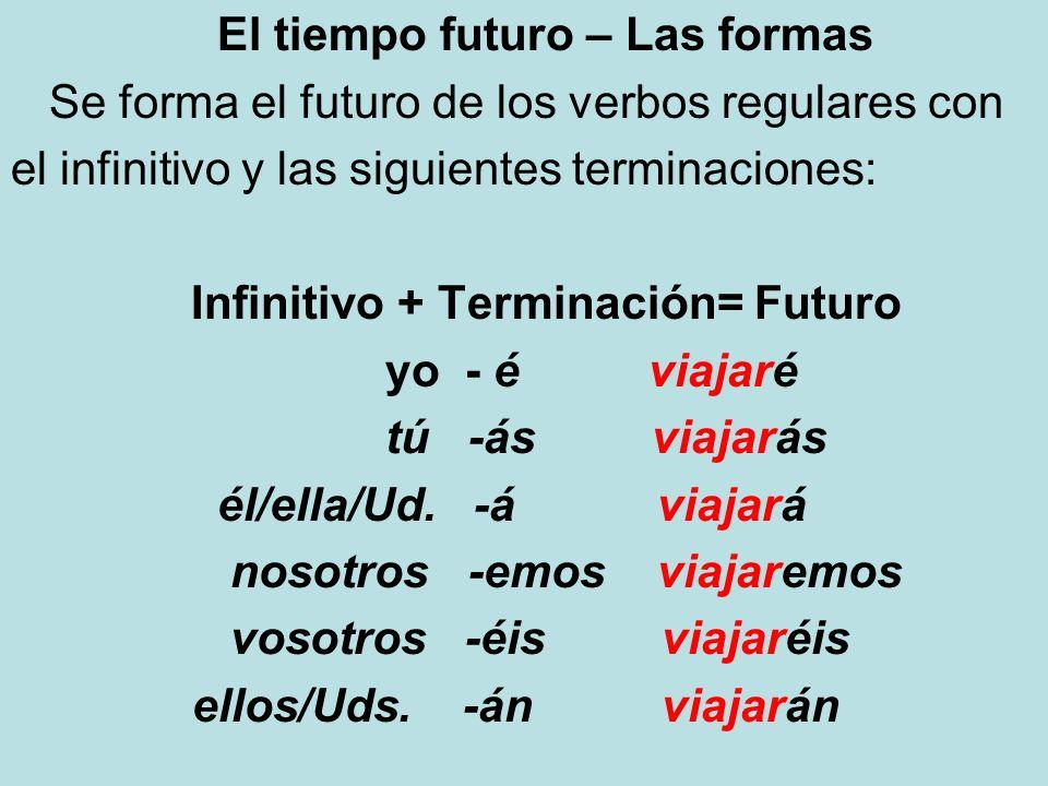 El tiempo futuro – Las formas Infinitivo + Terminación= Futuro