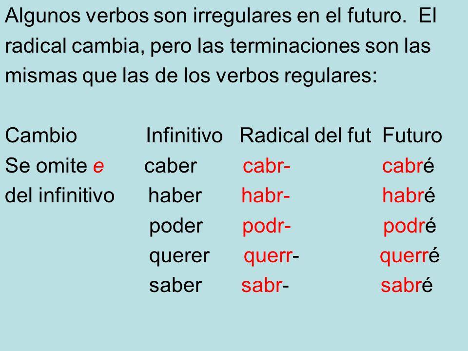 Algunos verbos son irregulares en el futuro. El