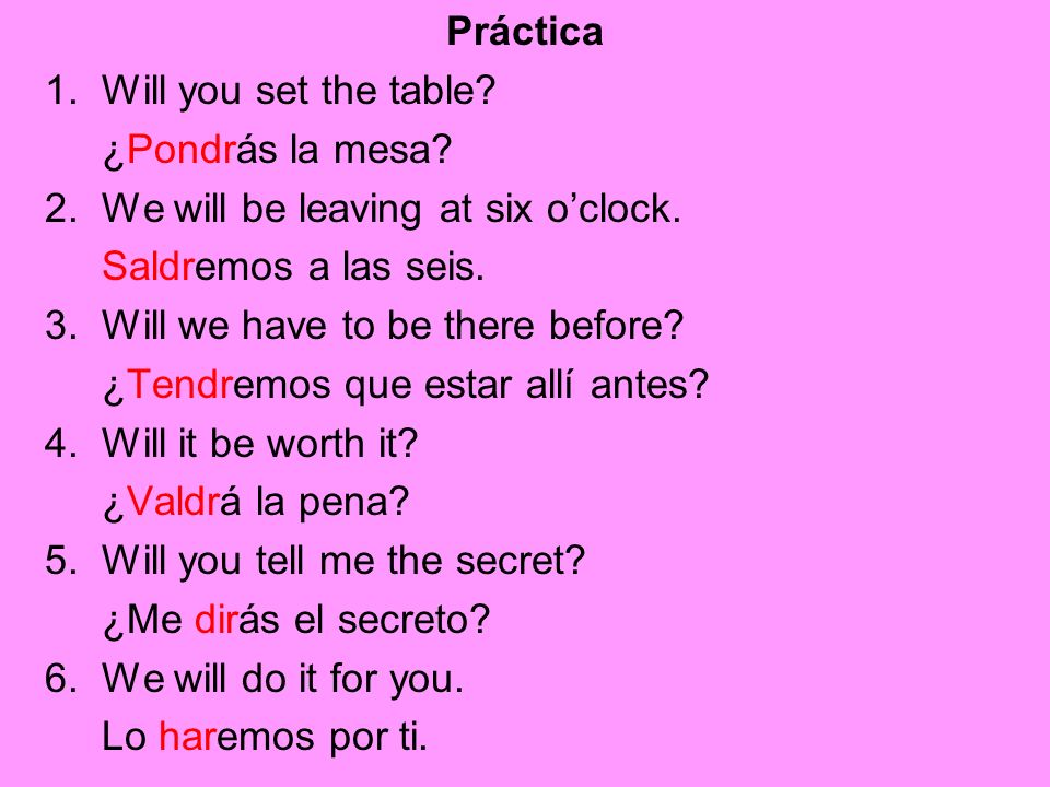Práctica 1. Will you set the table ¿Pondrás la mesa 2. We will be leaving at six o'clock. Saldremos a las seis.