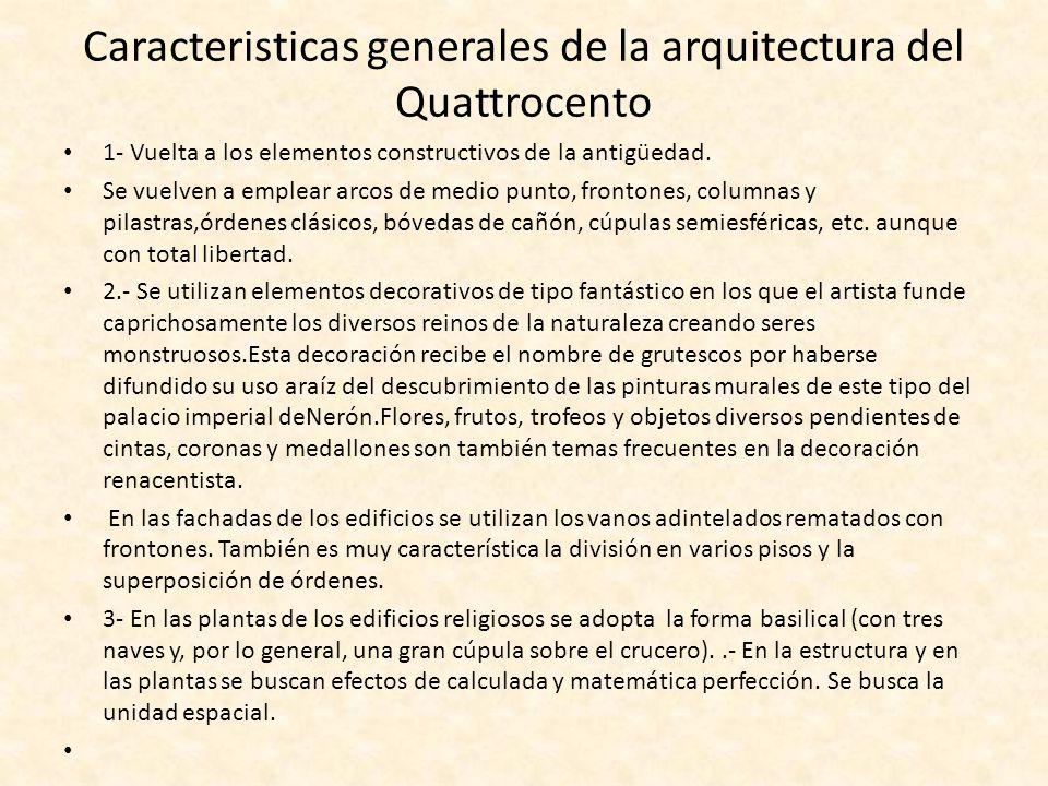 El arte renacentista el quattrocento arquitectura for Caracteristicas de la arquitectura
