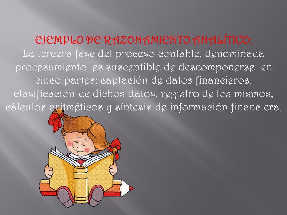 EJEMPLO DE RAZONAMIENTO ANALÍTICO: