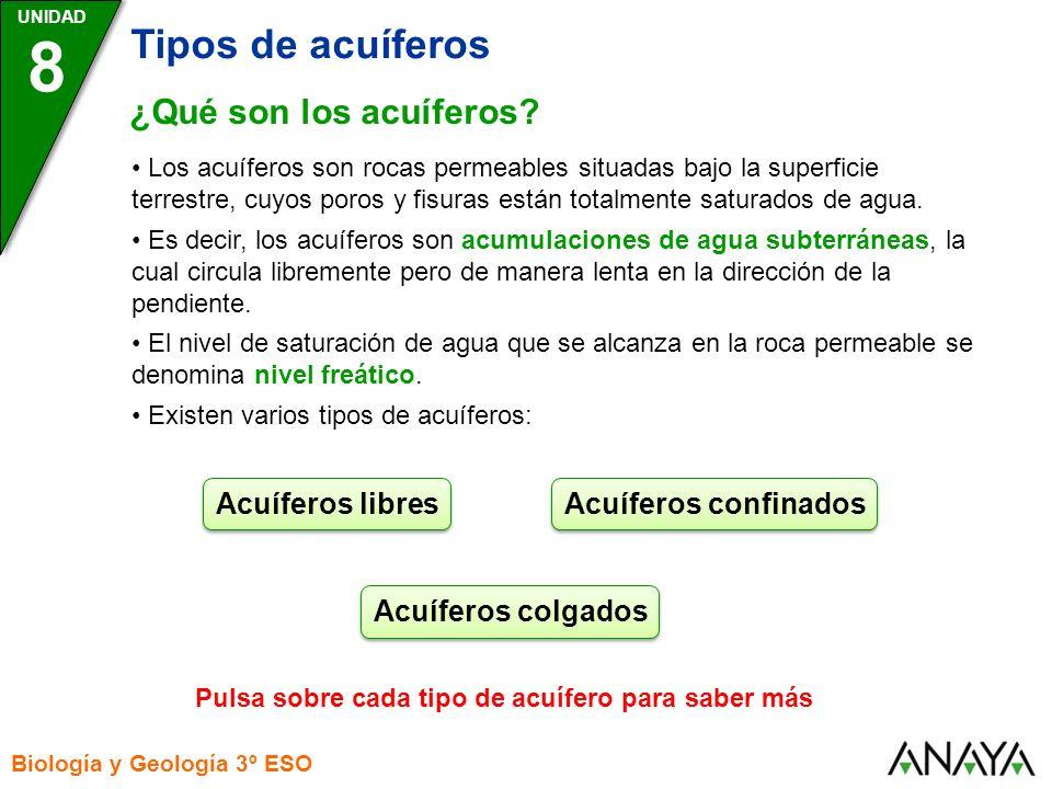 8 Tipos de acuíferos ¿Qué son los acuíferos Acuíferos libres
