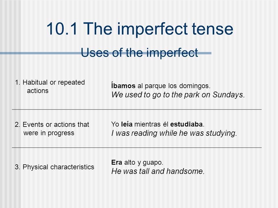 Uses of the imperfect We used to go to the park on Sundays.