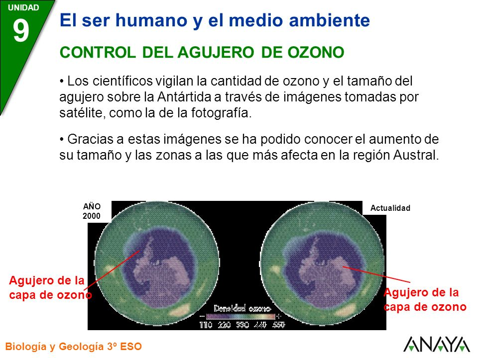 9 El ser humano y el medio ambiente CONTROL DEL AGUJERO DE OZONO