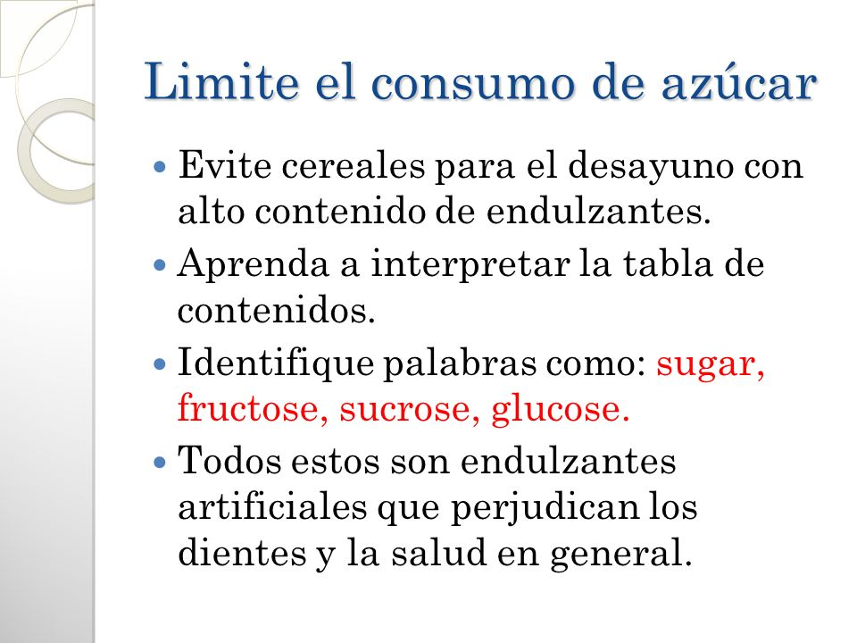 Limite el consumo de azúcar