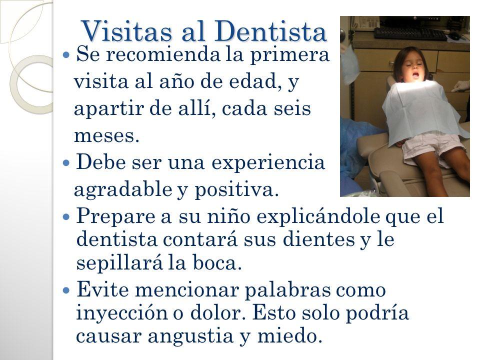 Visitas al Dentista Se recomienda la primera visita al año de edad, y