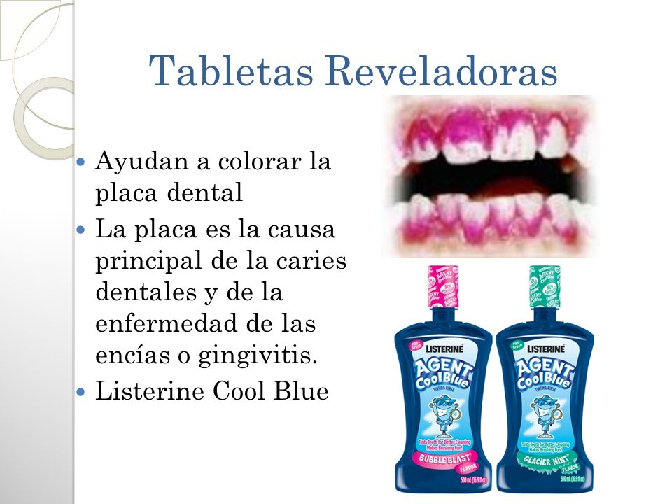 Tabletas Reveladoras Ayudan a colorar la placa dental