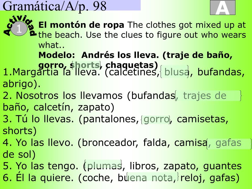 Gramática/A/p. 98A. Actividad. El montón de ropa The clothes got mixed up at the beach. Use the clues to figure out who wears what..