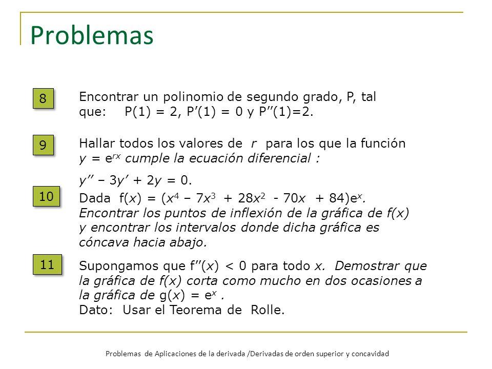 Problemas 8. Encontrar un polinomio de segundo grado, P, tal que: P(1) = 2, P'(1) = 0 y P''(1)=2.