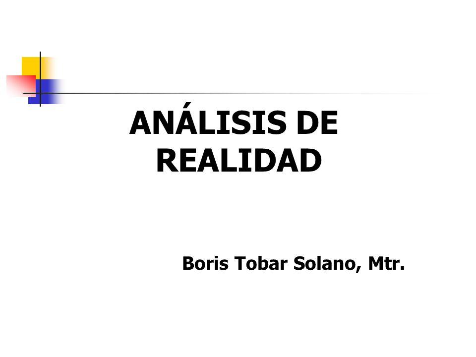 ANÁLISIS DE REALIDAD Boris Tobar Solano, Mtr.