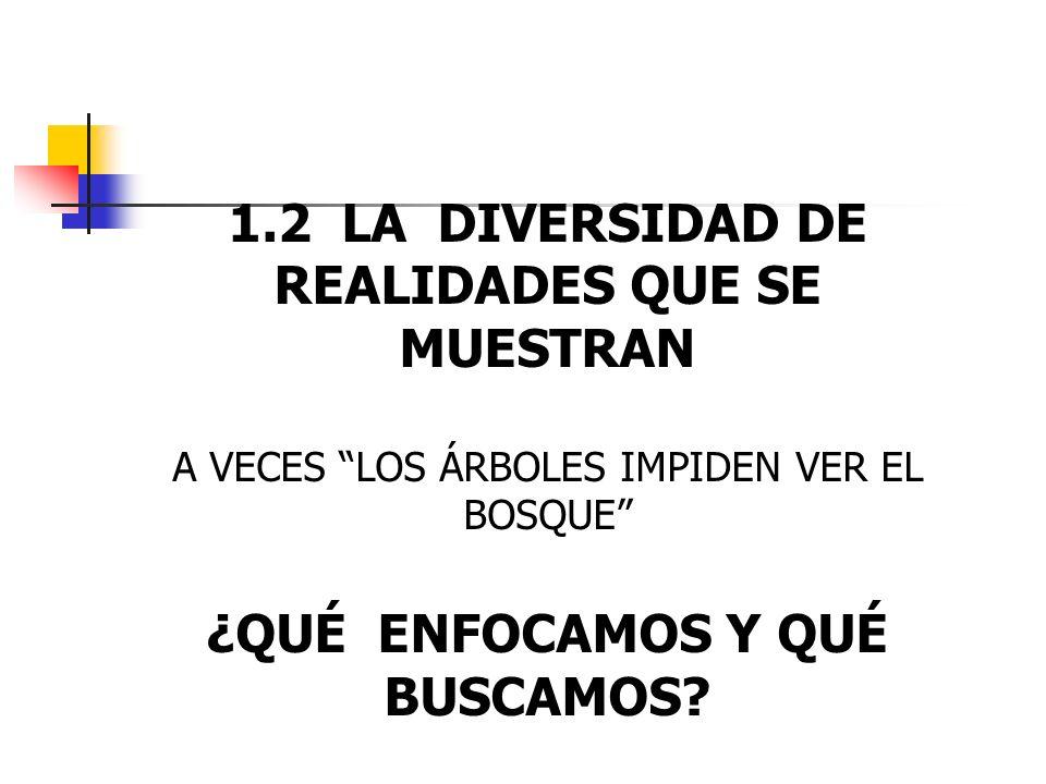 1.2 LA DIVERSIDAD DE REALIDADES QUE SE MUESTRAN