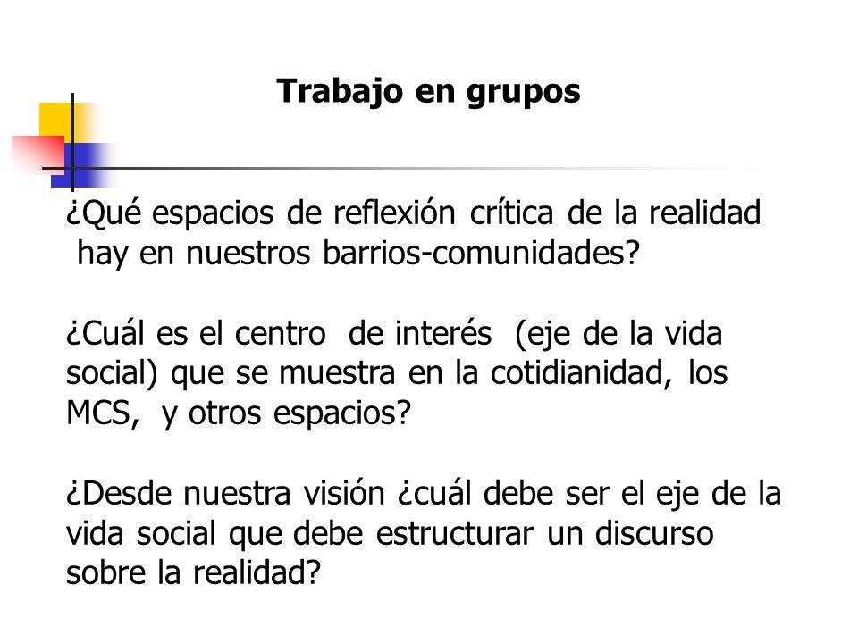 Trabajo en grupos ¿Qué espacios de reflexión crítica de la realidad. hay en nuestros barrios-comunidades