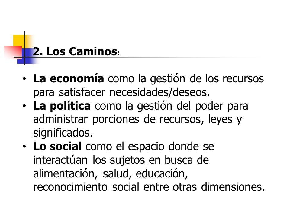 2. Los Caminos: La economía como la gestión de los recursos para satisfacer necesidades/deseos.
