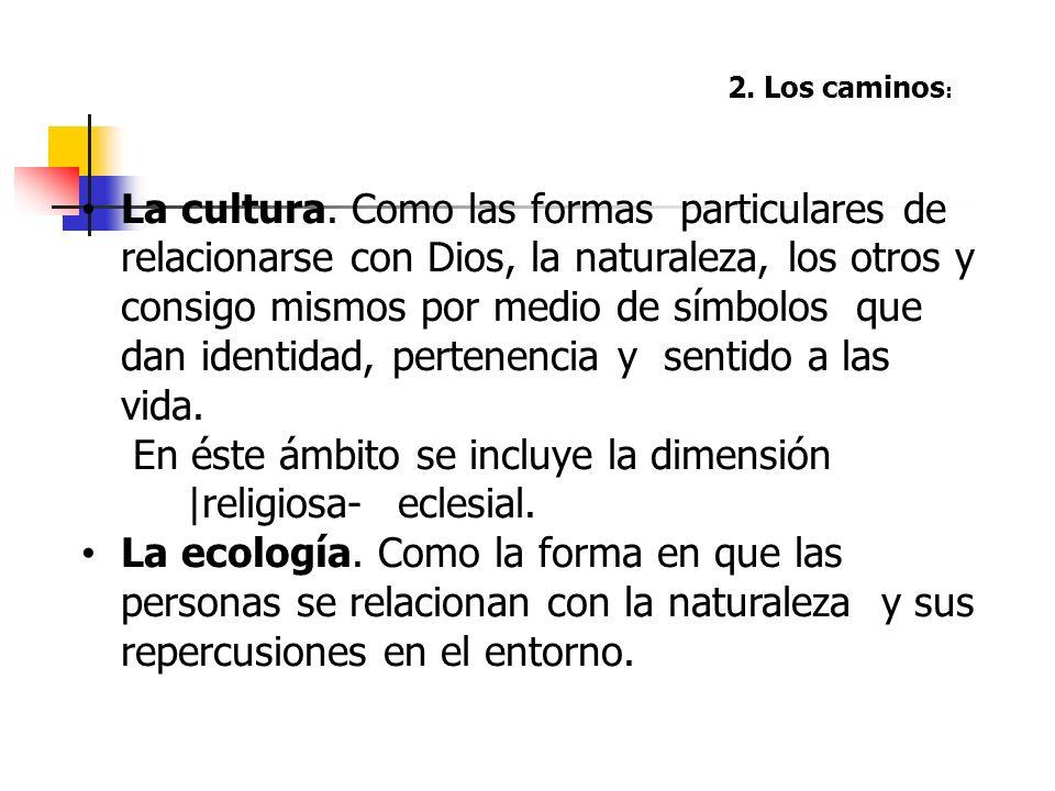 En éste ámbito se incluye la dimensión |religiosa- eclesial.