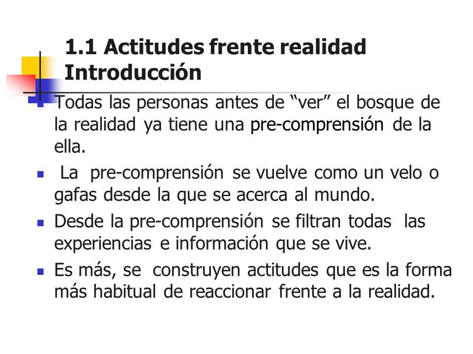 1.1 Actitudes frente realidad Introducción