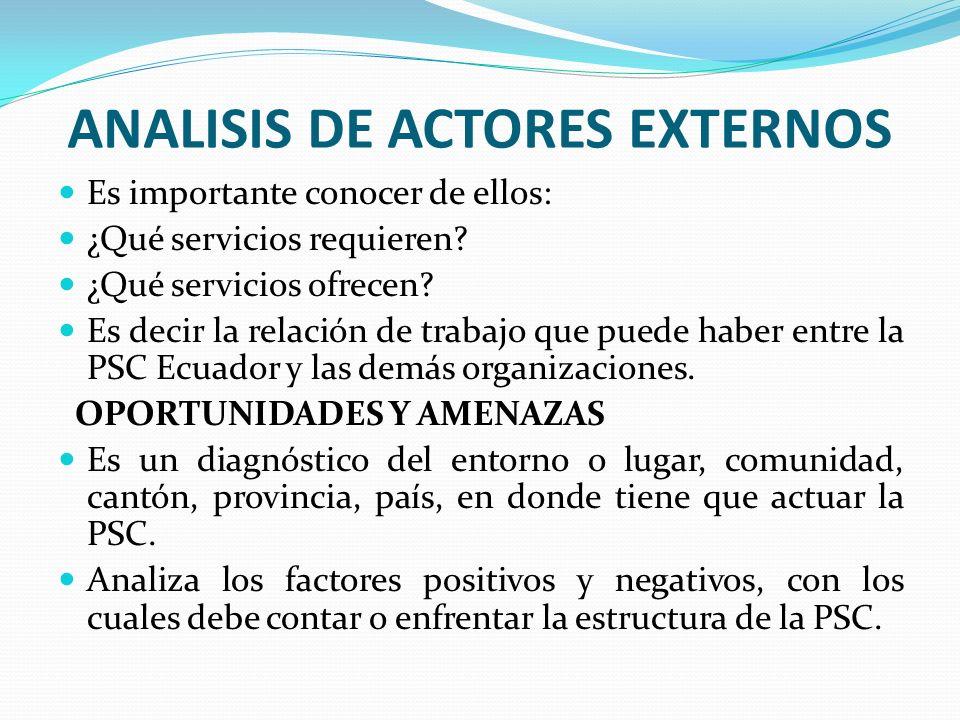 ANALISIS DE ACTORES EXTERNOS