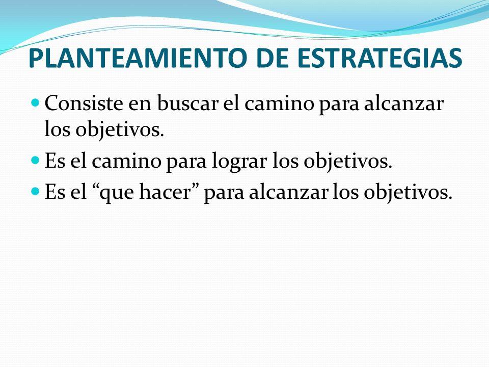 PLANTEAMIENTO DE ESTRATEGIAS