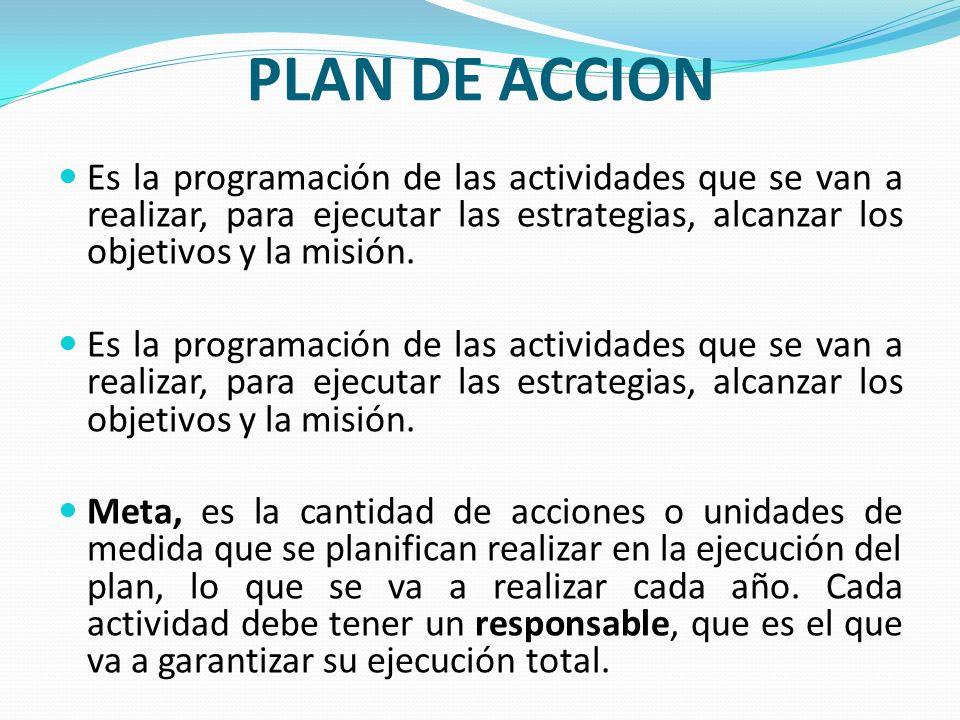 PLAN DE ACCION Es la programación de las actividades que se van a realizar, para ejecutar las estrategias, alcanzar los objetivos y la misión.