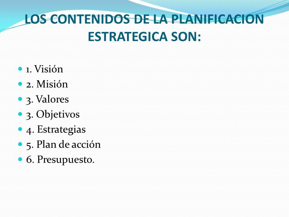 LOS CONTENIDOS DE LA PLANIFICACION ESTRATEGICA SON: