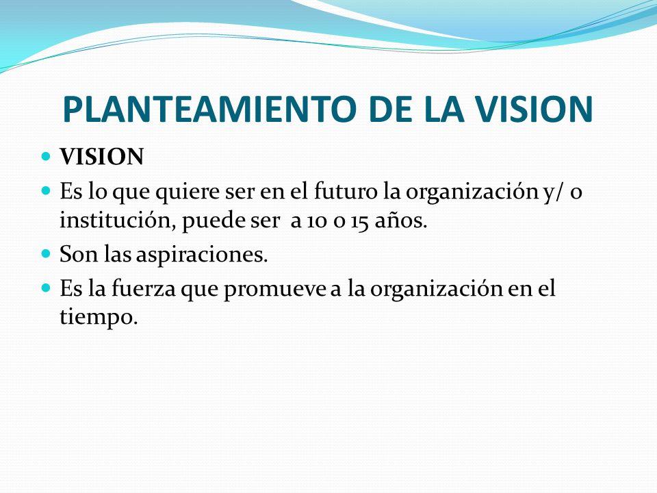 PLANTEAMIENTO DE LA VISION