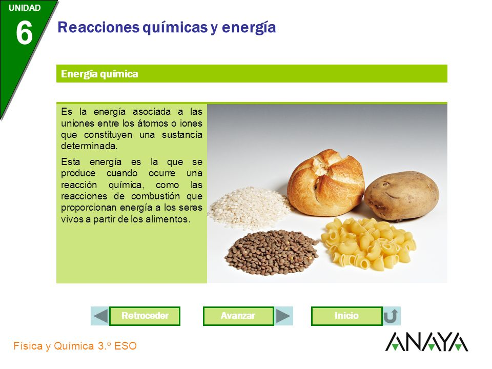 Energía química Es la energía asociada a las uniones entre los átomos o iones que constituyen una sustancia determinada.