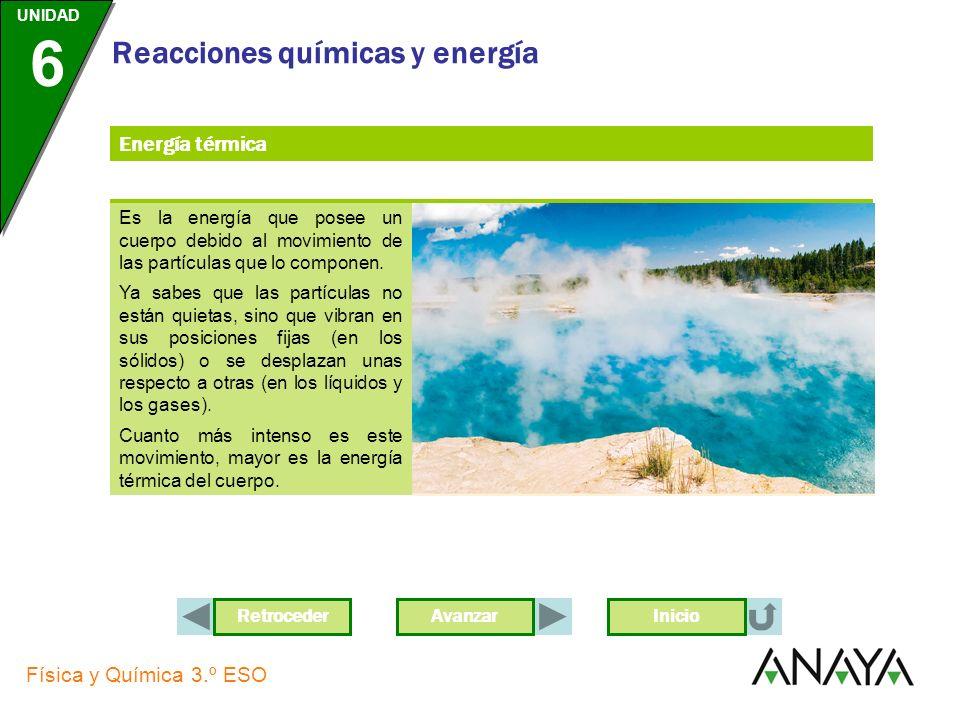 Energía térmicaEs la energía que posee un cuerpo debido al movimiento de las partículas que lo componen.