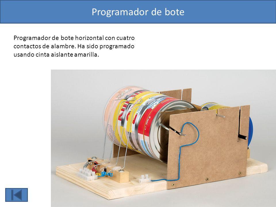 Programador de bote Programador de bote horizontal con cuatro contactos de alambre.