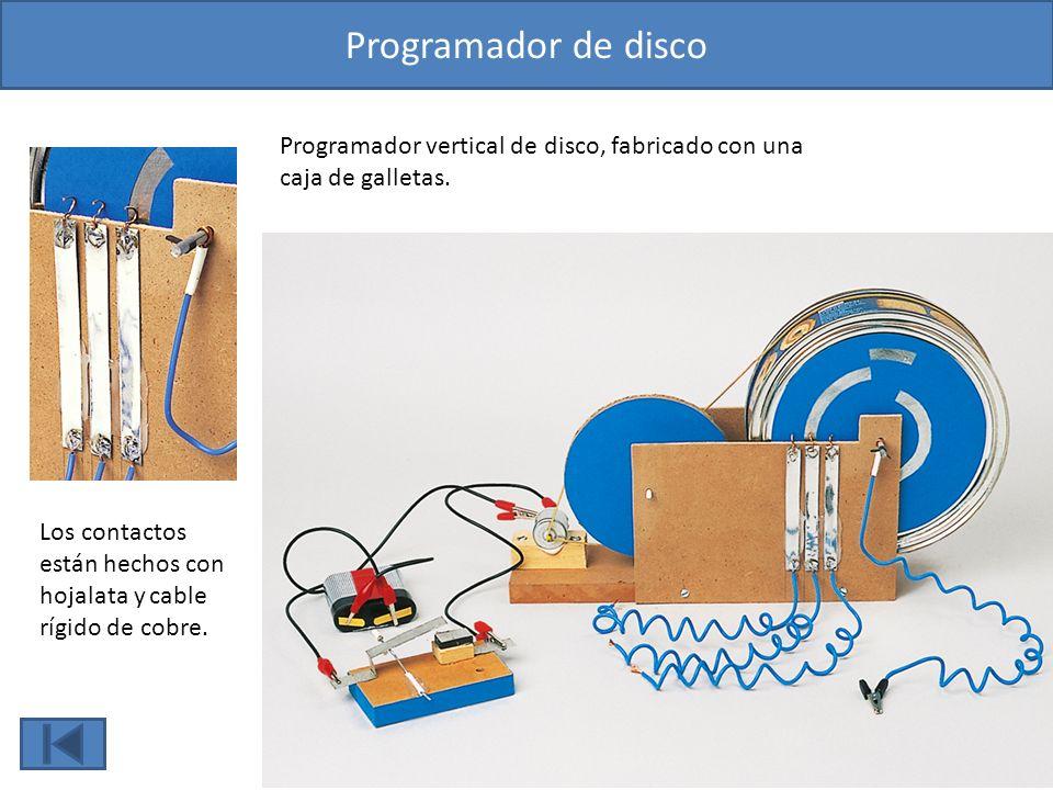 Programador de disco Programador vertical de disco, fabricado con una caja de galletas.