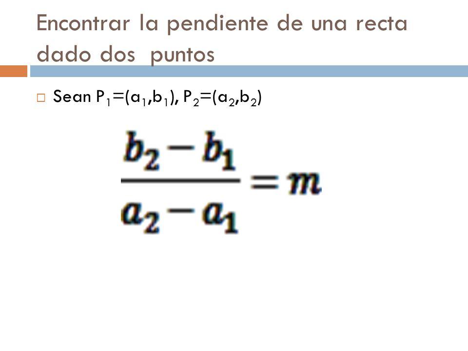 Encontrar la pendiente de una recta dado dos puntos