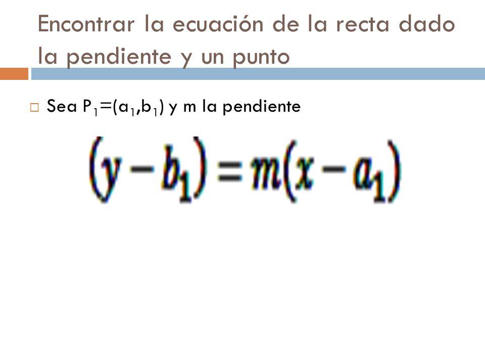 Encontrar la ecuación de la recta dado la pendiente y un punto