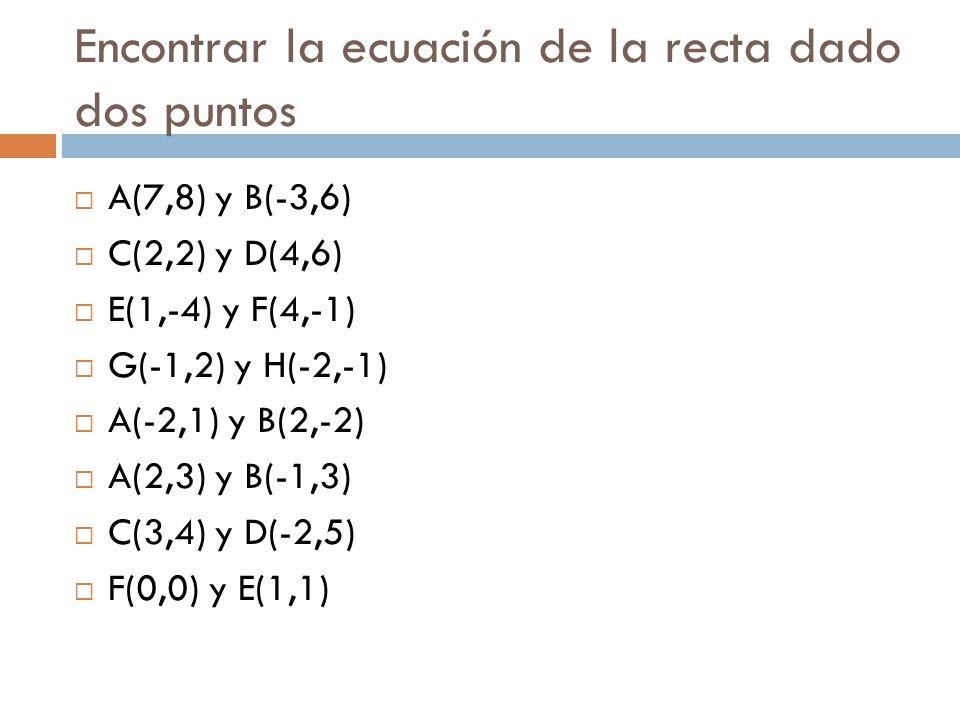Encontrar la ecuación de la recta dado dos puntos