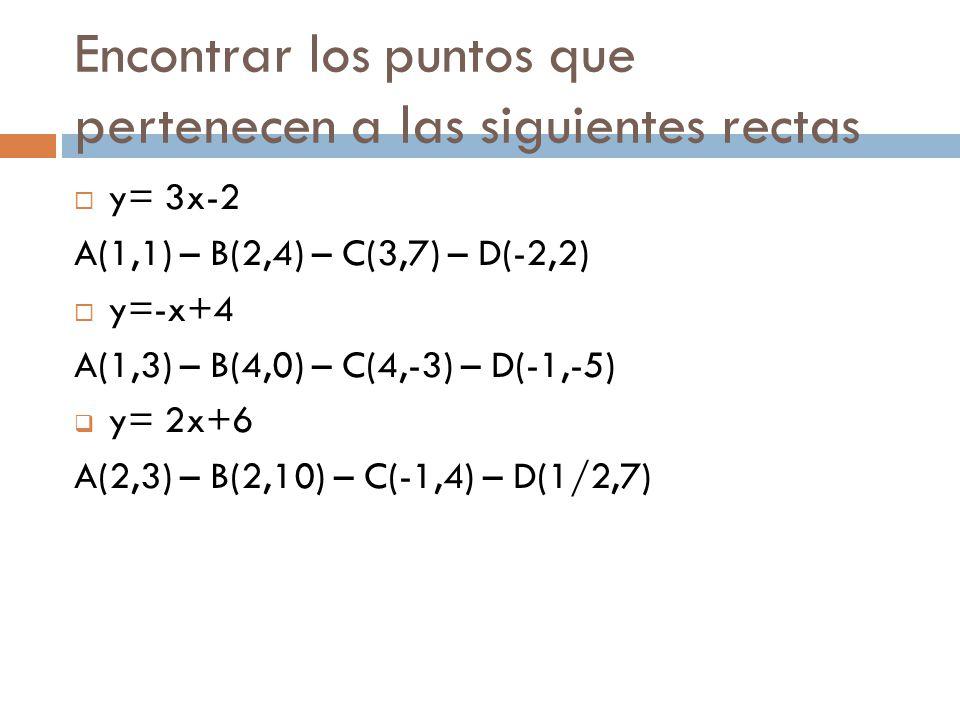 Encontrar los puntos que pertenecen a las siguientes rectas
