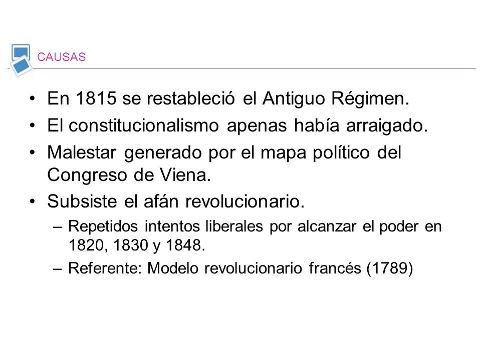 En 1815 se restableció el Antiguo Régimen.