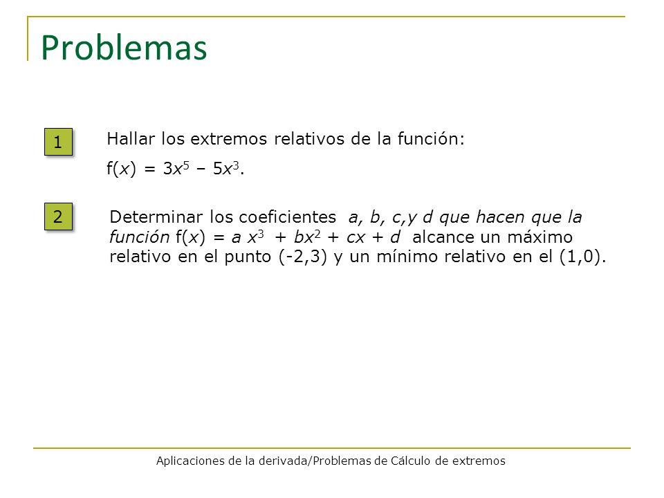 Aplicaciones de la derivada/Problemas de Cálculo de extremos