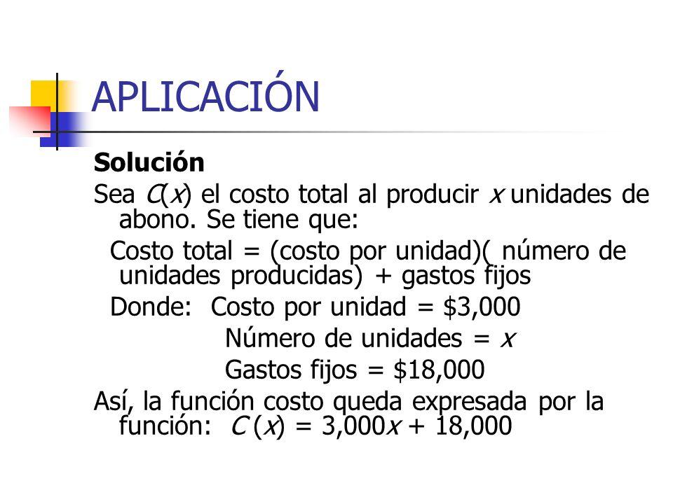 APLICACIÓN Solución. Sea C(x) el costo total al producir x unidades de abono. Se tiene que: