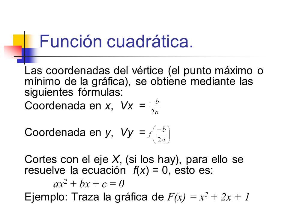 Función cuadrática. Las coordenadas del vértice (el punto máximo o mínimo de la gráfica), se obtiene mediante las siguientes fórmulas: