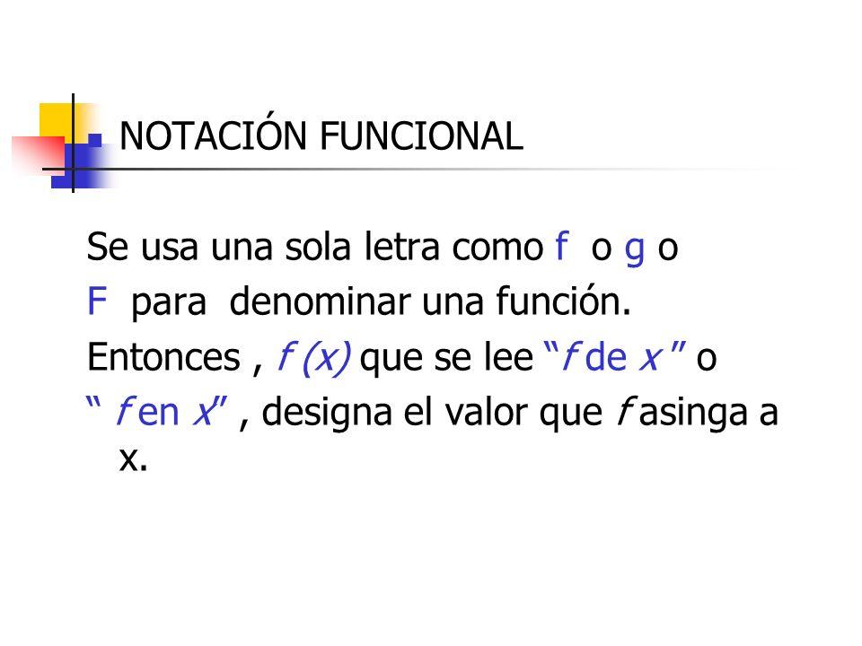 NOTACIÓN FUNCIONAL Se usa una sola letra como f o g o. F para denominar una función. Entonces , f (x) que se lee f de x o.