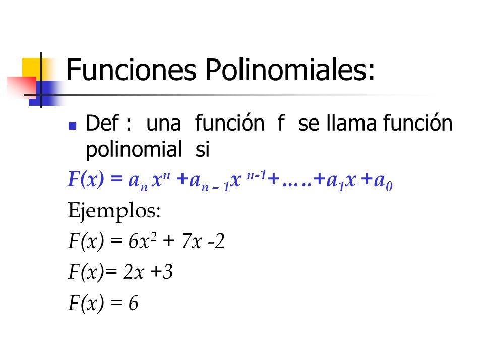 Funciones Polinomiales: