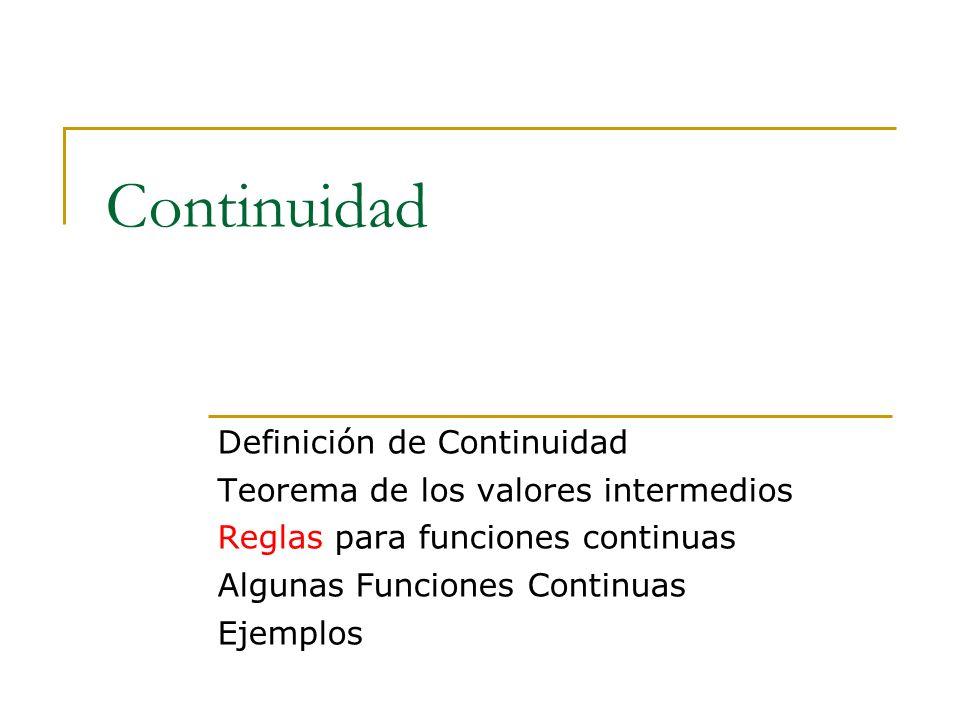 Continuidad Definición de Continuidad