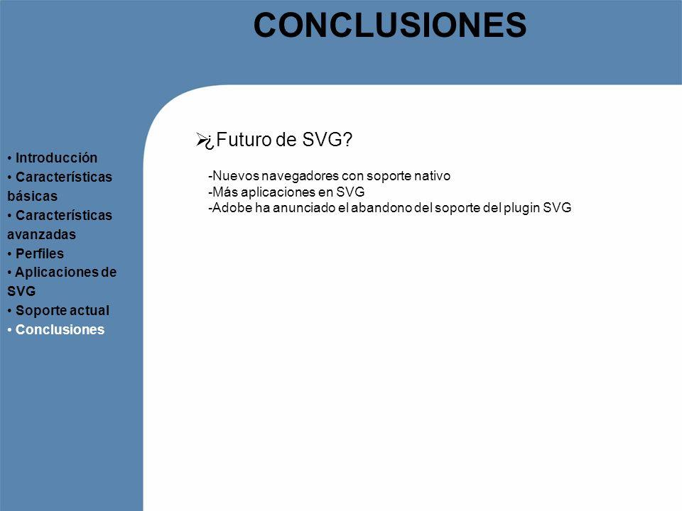 CONCLUSIONES ¿Futuro de SVG Introducción Características básicas