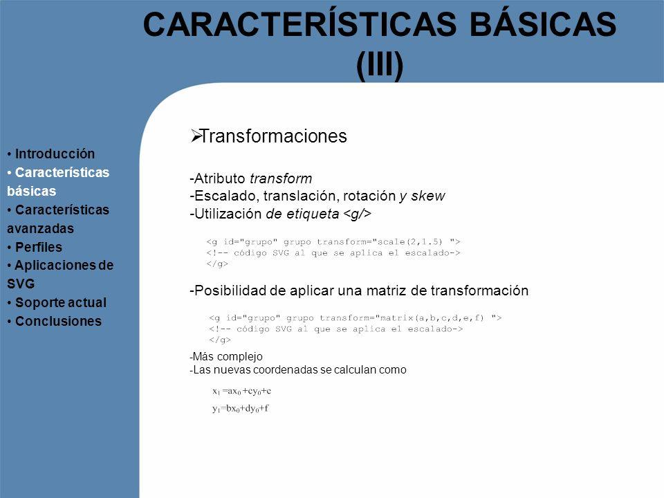 CARACTERÍSTICAS BÁSICAS (III)